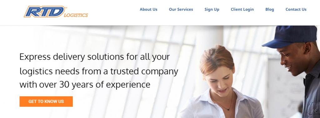 Capture of RTD Logistics homepage